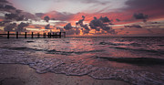 Pier Photos - Sunrise Panoramic by Adam Romanowicz