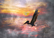 Pelican Landing Posters - Sunrise Paradise Poster by Betsy A Cutler East Coast Barrier Islands