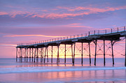 Yorkshire Prints - Sunrise Pier Print by Colin and Linda McKie