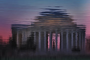 Iconic Structures Prints - Sunrise Reflections Of The Thomas Jefferson Memorial Print by Susan Candelario