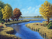 Yello Paintings - Sunrise River east of Stacy by Rick Hansen