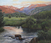 National Park Paintings - Sunrise Rocky Mountain National Park by Anna Bain