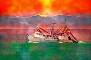 Shrimp Boat Prints - Sunrise Shrimping Print by Betsy A Cutler East Coast Barrier Islands