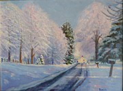 Snow-covered Landscape Painting Posters - Sunrise Snow Poster by Bonita Waitl