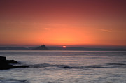 Cornwall Digital Art Prints - Sunrise St Michaels Mount Print by Donald Davis