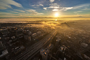 Seattle Prints - Sunrise Sunrays Seattle Print by Mike Reid
