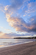 Moody Sky Posters - Sunrise Takapuna Beach Auckland Poster by Colin and Linda McKie