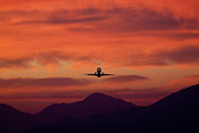 Den Decor Photo Prints - Sunrise Takeoff Print by John Daly