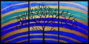 Sunrise Tree - Abstract Oil Painting Original Metallic Gold Textured Modern Contemporary Art Print by Emma Lambert