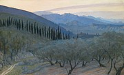 Italian Landscape Painting Prints - Sunrise Umbria 1914 Print by Sir William Blake Richmond