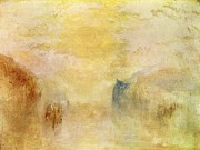 Romanticism Posters - Sunrise with a boat between headlands 1840s Poster by Joseph Mallord William Turner