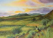 Wyoming Paintings - Sunrise With Brodie by Todd Derr