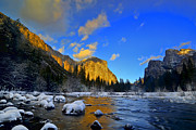 Winter Pyrography Posters - Sunrise Yosemite Valley Poster by Peter Dang