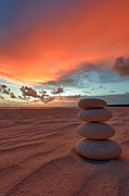 Pebbles. Prints - Sunrise Zen Print by Sebastian Musial