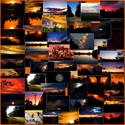 Coller Posters - SunRises and SunSets Collage Square Poster by Thomas Woolworth