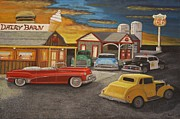 Service Station Paintings - Sunset 66 by Larry Lamb