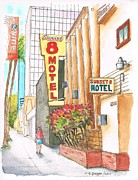 Motel Painting Prints - Sunset-8-Motel-Hollywood-CA Print by Carlos G Groppa