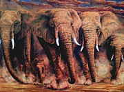 Tusk Painting Posters - Sunset African Giants Poster by Sion Shadd