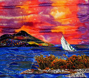 Bright Tapestries - Textiles Originals - Sunset And A Fair Wind by Maureen Wartski