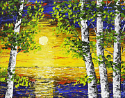 Handmade Trunk Posters - Sunset And Birch Trees Palette Knife Painting Poster by Keith Webber Jr