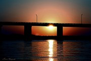 Panama City Beach Posters - Sunset and Bridge Poster by Debra Forand