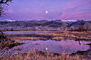 Moonrise Framed Prints - Sunset and Moonrise at Farmers Pond Framed Print by Cat Connor
