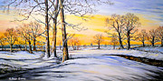 Snow Mixed Media Posters - Sunset and Snow Poster by Andrew Read