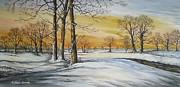 Winter Scene Metal Prints - SUNSET AND SNOW sold Metal Print by Andrew Read