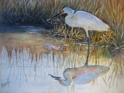 Reeds Painting Originals - Sunset and Snowy Egret by Patricia Pushaw