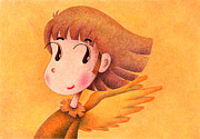 Mascot Drawings Framed Prints - Sunset Angel Framed Print by T Koni