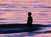 Children At Beach Prints - Sunset Art - Contemplation Print by Sharon Cummings