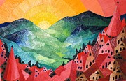 Mountains Sculpture Posters - SUNSET   Art Deco Poster by Gunter  Hortz