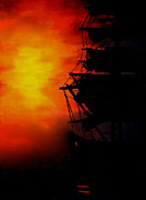 Fog At Sea Prints - Sunset as a misty fog arrives Print by Joe Lisowski