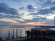 Sunset At American Fish Co       Safe Havens Ivans In Southport Nc Print by Shelia Kempf