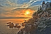 Bass Harbor Lighthouse Posters - Sunset At Bass Harbor Poster by Adam Jewell