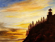 Maine Shore Painting Originals - Sunset at Bass Harbor by Lee Piper