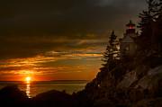 Sunset At Bass Harbor Lighthouse Print by Oscar Gutierrez