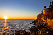 New England Ocean Framed Prints - Sunset at Bass Harbor Lighthouse Framed Print by Robert Clifford