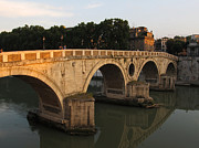 Tevere Prints - Sunset at bridge Ponte Sisto in Rome Print by Kiril Stanchev