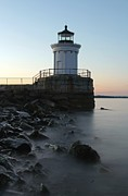 Maine Lighthouses Framed Prints - Sunset at Bug Light  Framed Print by Juergen Roth
