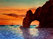 Sunset Prints Originals - Sunset At Cabo San Lucas by John Yato