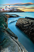 New England Marina Park Prints - Sunset at Cape Neddick Light- Maine Print by Thomas Schoeller