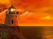 Lighthouse At Sunset Posters - Sunset at Castle Hill Poster by Lourry Legarde