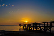Pier Digital Art - Sunset at Crystal Beach Pier by Bill Cannon