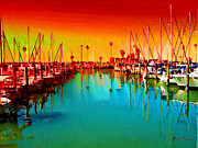 Tropical Sunset Digital Art Prints - Sunset at Dunedin Marina Print by Bill Cannon