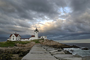 Lighthouse At Sunset Posters - Sunset at Eastern Point Lighthouse Poster by Jatinkumar Thakkar