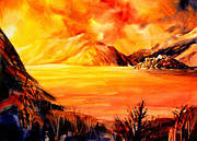 Switzerland Painting Originals - Sunset at Grimsel Pass in the Swiss Alps by Ryan Fox