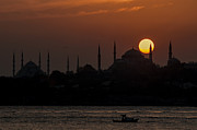 Byzantine Framed Prints - Sunset at Historical Peninsula in Istanbul Framed Print by Ayhan Altun