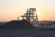 Acrylic Print Framed Prints - Sunset at Jones Beach Framed Print by John Telfer