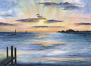 Marathon Painting Originals - Sunset At Lazy Days by Barbara Totten